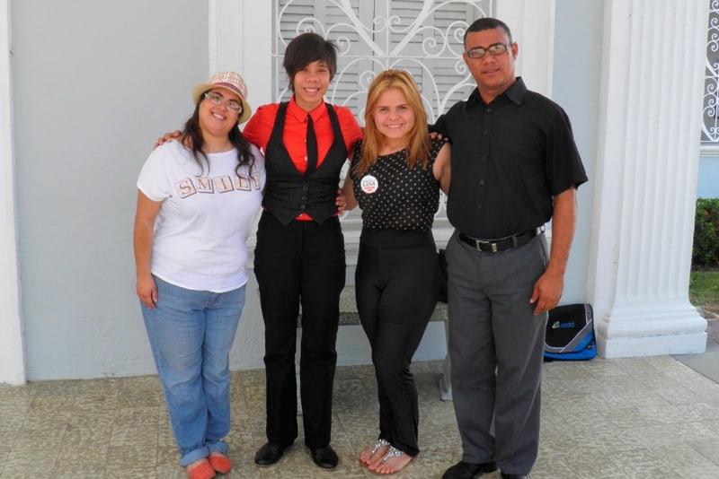 De izquierda a derecha, Yaira Castellón, Layshi Curbelo, Naihomi Ortiz López y Jeffrey Rivera. Foto: archivo