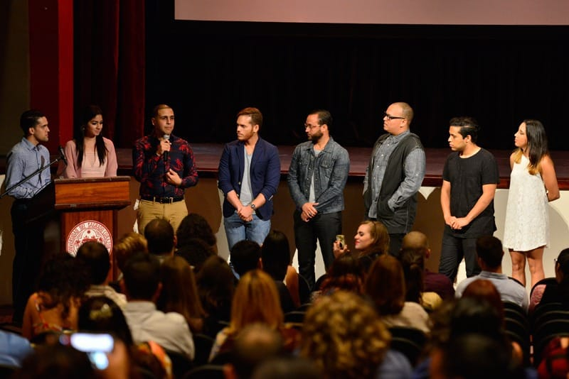 El equipo de producción de Seropositivo durante la presentación del filme durante la Muestra de Cortometrajes en mayo de 2015. Foto: Néstor Méndez