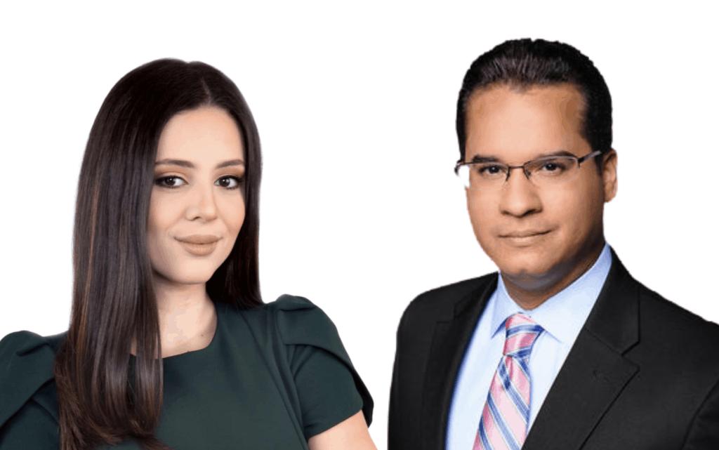 Alanis Quiñones, reportera de Wapa TV y Ricardo Currás, ancla de Teleonce.